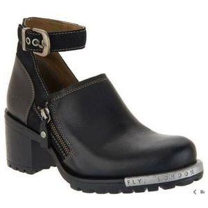 Fly London Lepu leather block heel booties